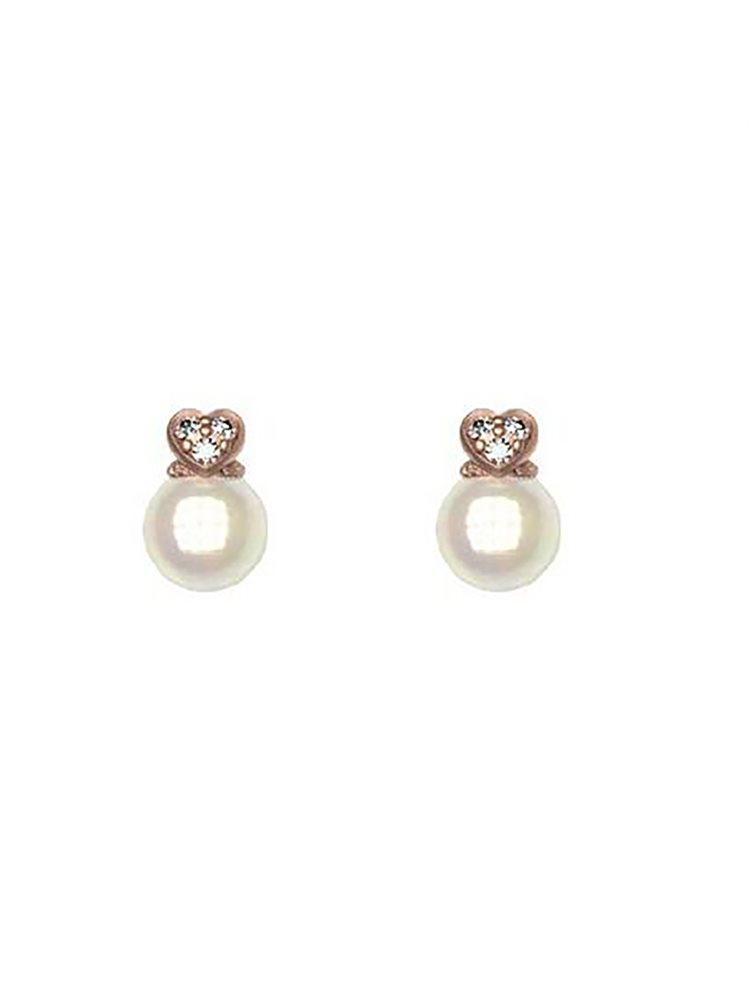 Σκουλαρίκια συλλογή Love με το πάνω μέρος καρδιά από ρόζ επιχρυσωμένο ασήμι με πέτρες Swarovski και στο κάτω μέρος πέρλα