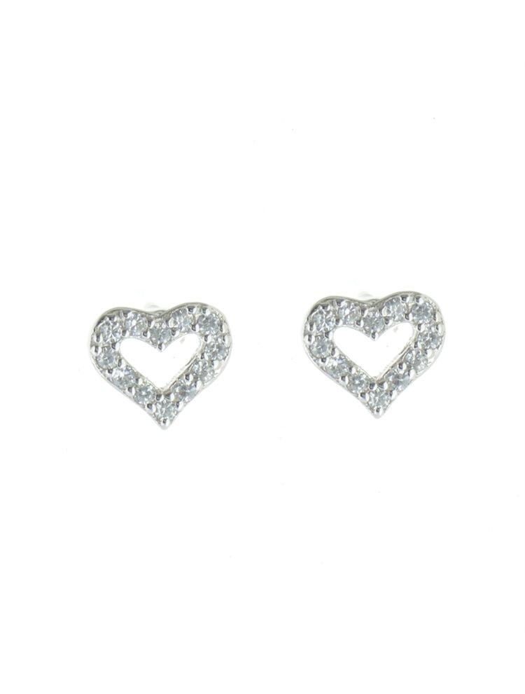 Σκουλαρίκια καρδιά από ασήμι με πέτρες ζιργκόν
