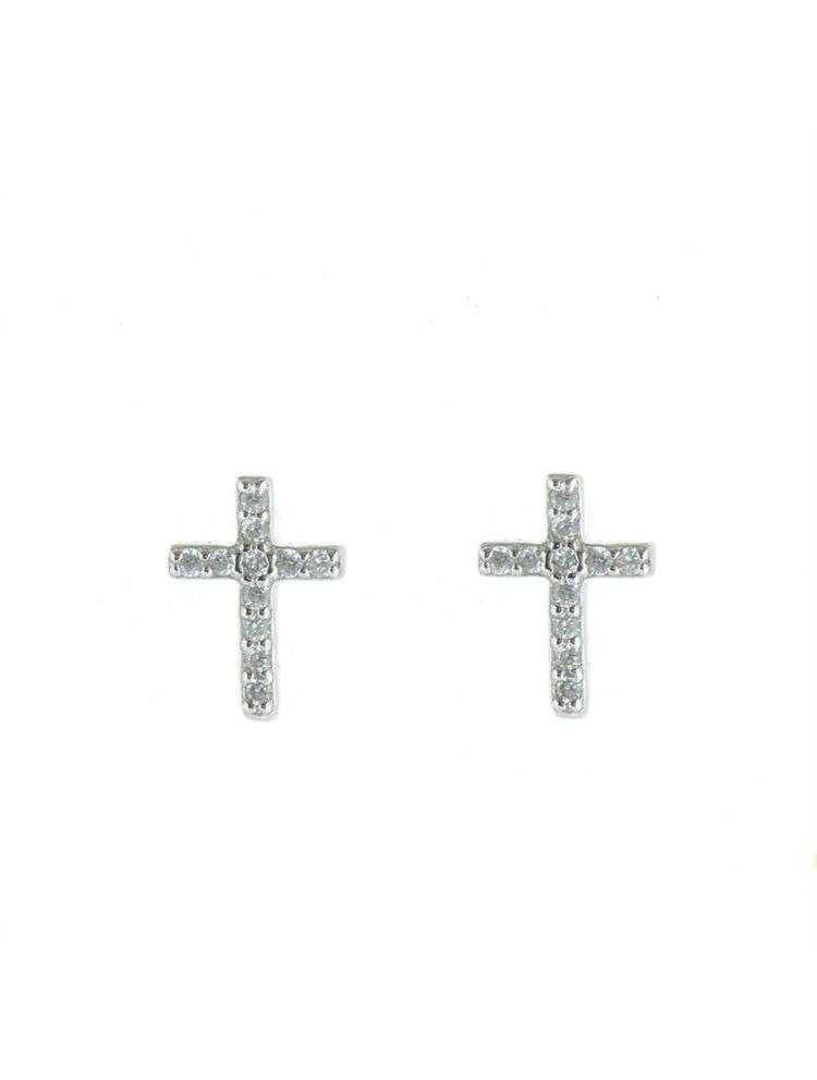 Σκουλαρίκια σταυρός από ασήμι με πέτρες ζιργκόν