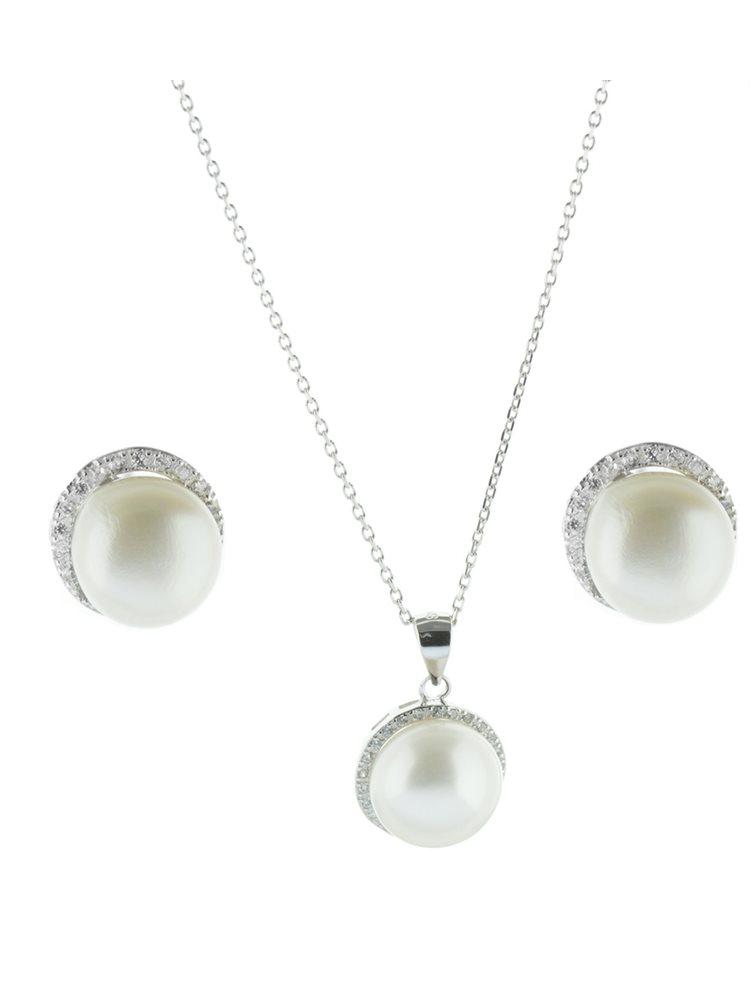 Σέτ κολιέ με σκουλαρίκια από ασήμι με πέτρες ζιργκόν και μαργαριτάρια