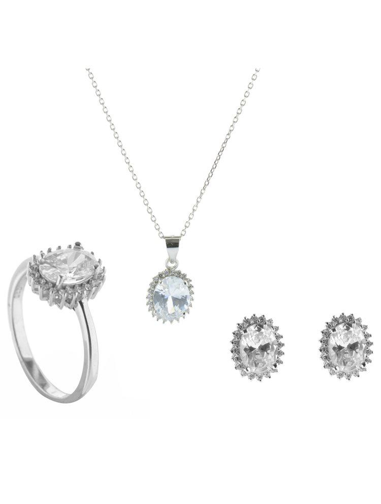 Σέτ κολιέ με σκουλαρίκια και δαχτυλίδι από ασήμι με πέτρες ζιργκόν