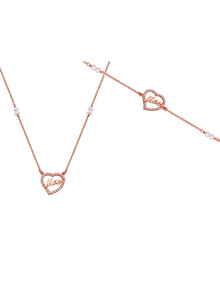 Σέτ κοσμημάτων κολιέ και βραχιόλι από ρόζ επιχρυσωμένο ασήμι με την λέξη mom με πέτρες ζιργκόν