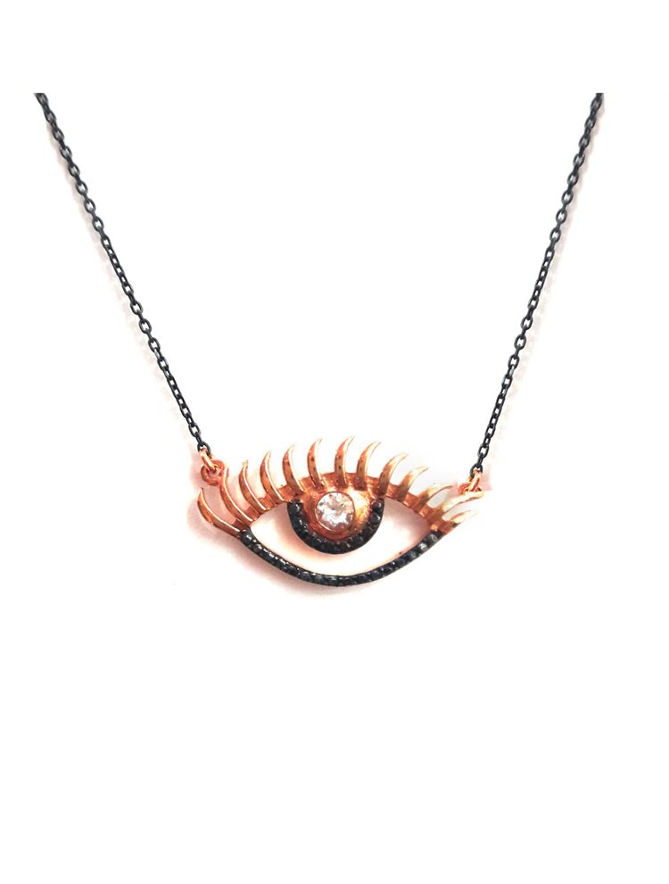 Κολιέ μάτι από μαύρο πλατινωμένο ασήμι και ρόζ επιχρυσωμένο ασήμι