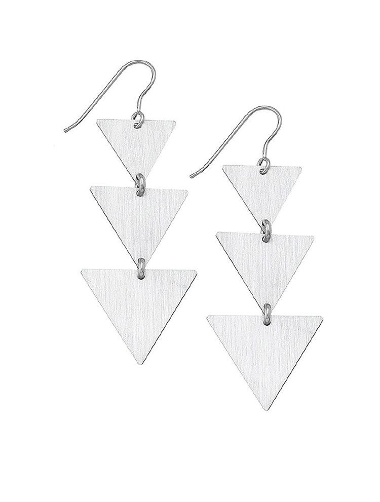 Κρεμαστά μακριά σκουλαρίκια τρίγωνα από ασήμι