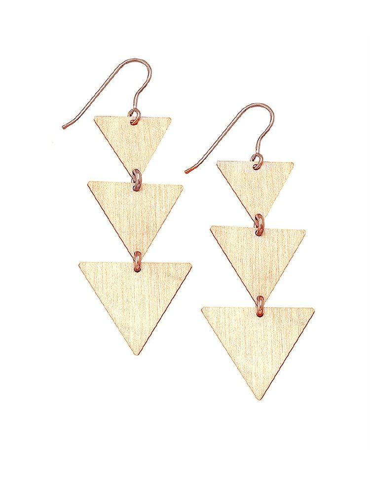 Κρεμαστά μακριά σκουλαρίκια τρίγωνα από ρόζ επιχρυσωμένο ασήμι