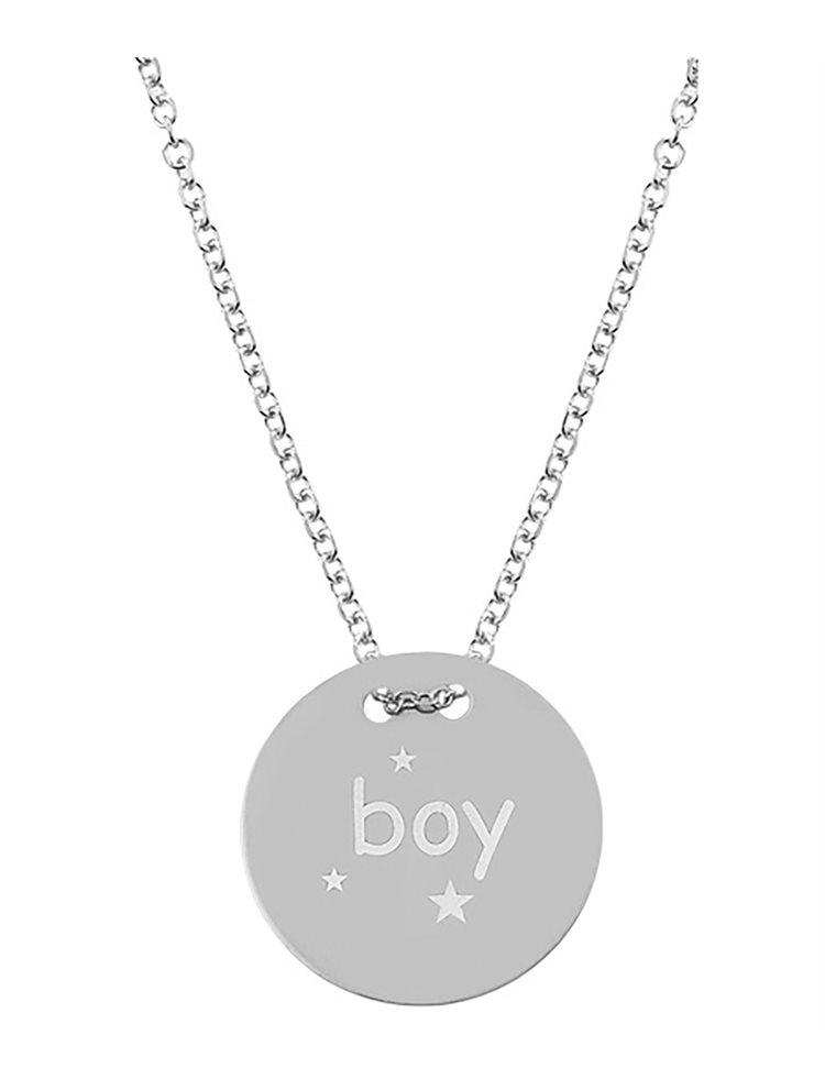 Κολιέ για μαμάδες από λευκόχρυσό 9 καρατίων K9 κύκλος με την λέξη Boy