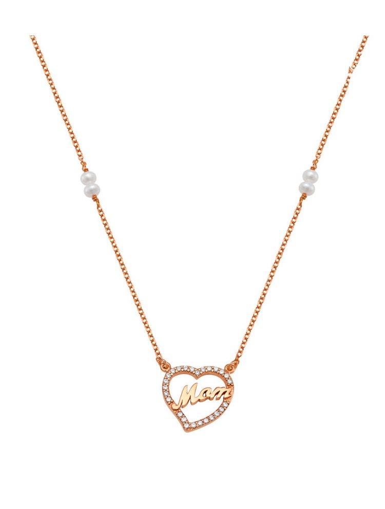 Κολιέ για μαμάδες από ρόζ χρυσός 9 καρατίων Κ9 με την λέξη mom με πέτρες ζιργκόν