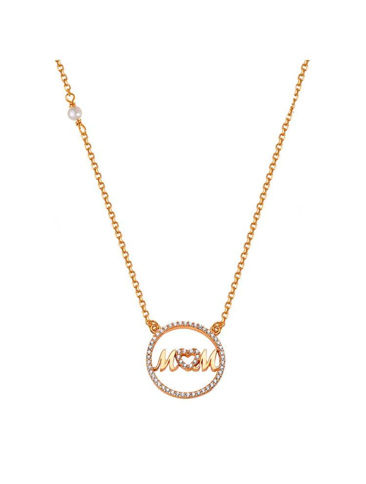Κολιέ για μαμάδες από ρόζ χρυσός 14 καρατίων Κ14 με την λέξη mom με πέτρες ζιργκόν