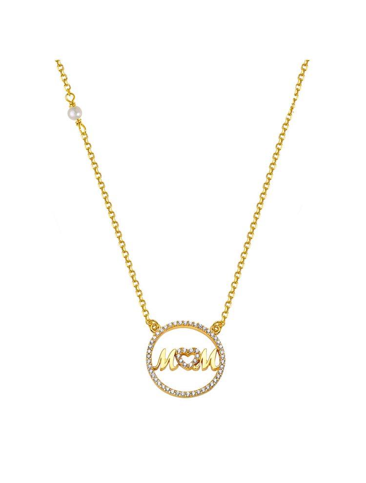 Κολιέ για μαμάδες από χρυσός 14 καρατίων Κ14 με την λέξη mom με πέτρες ζιργκόν