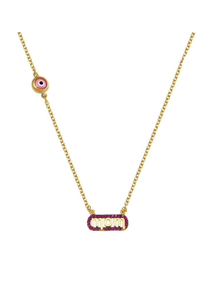 Κολιέ για μαμάδες από χρυσός 14 καρατίων Κ14 με την λέξη mom με πέτρες ζιργκόν και ματάκι