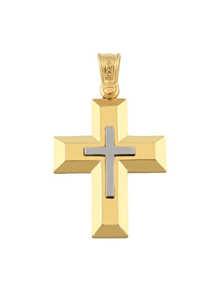 Βαπτιστικός σταυρός για αγόρι από χρυσό 9 καρατίων Σταυρός βάφτισης K9