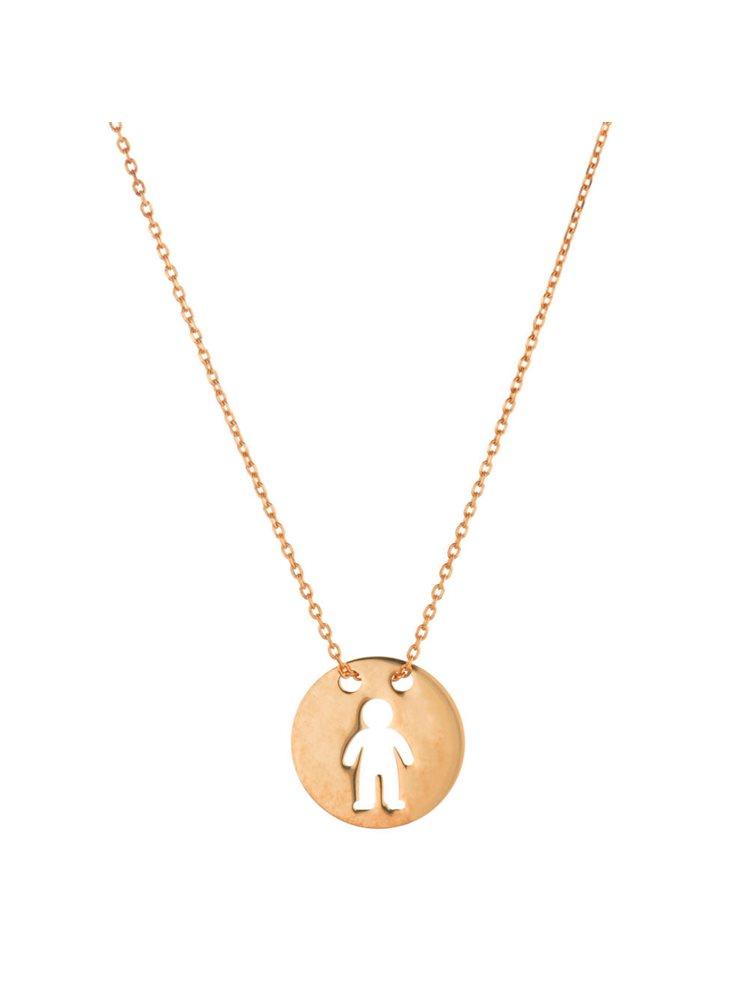 Κολιέ για μαμάδες από ρόζ επιχρυσωμένο ασήμι σε φλουρί με αγοράκι