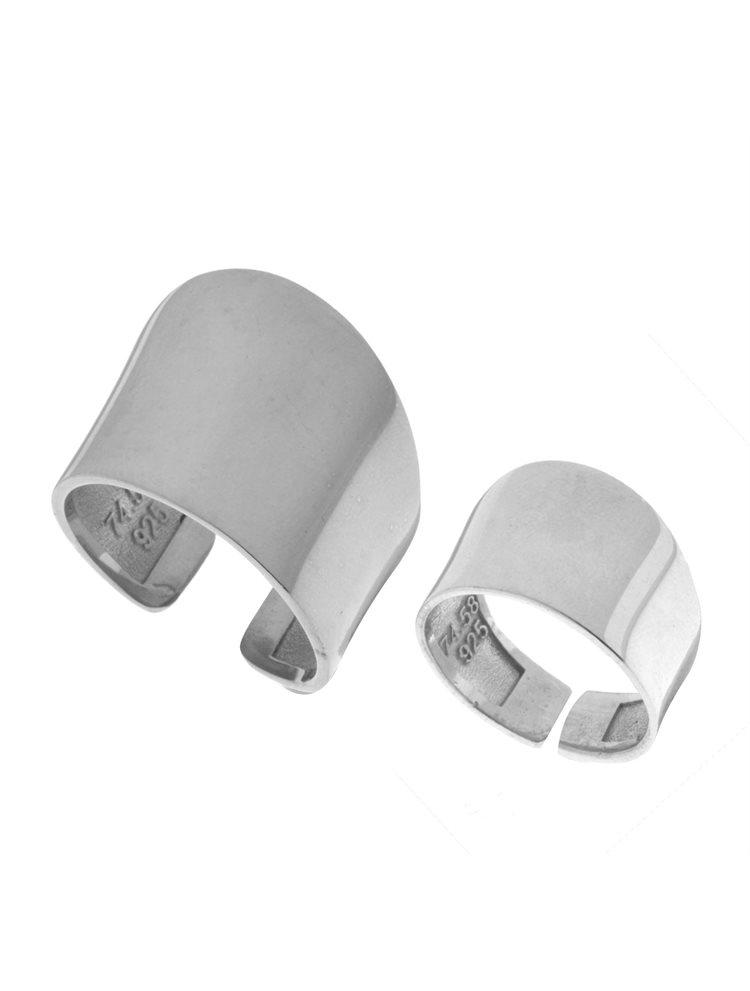 Δύο Χειροποίητα μοντέρνα δαχτυλίδια Σέτ από ασήμι One size