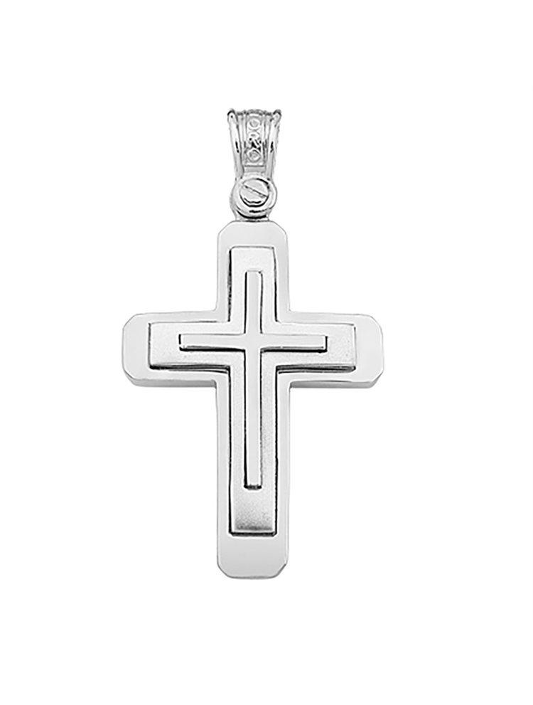 Χειροποίητος βαπτιστικός σταυρός λευκόχρυσο 14 καρατίων | Σταυρός βάπτισης K14