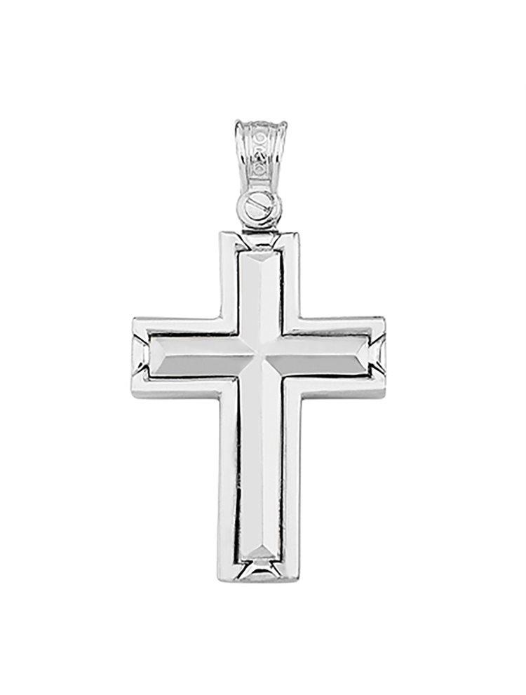 Χειροποίητος βαπτιστικός σταυρός λευκόχρυσο 9 καρατίων | Σταυρός βάπτισης K9