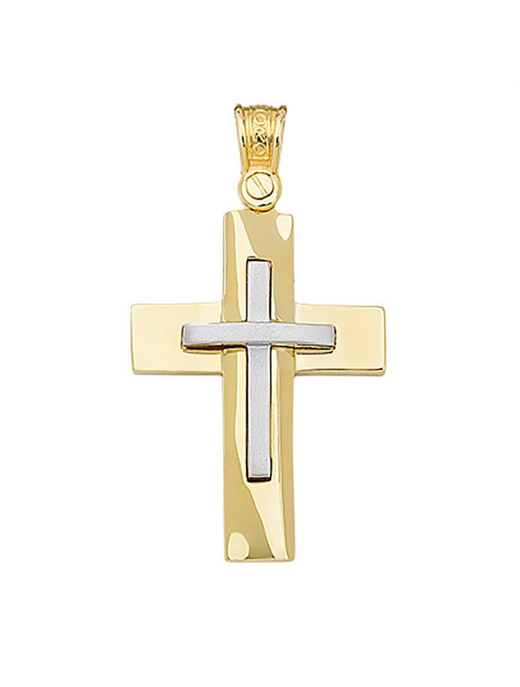 Χειροποίητος βαπτιστικός σταυρός δίχρωμος 14 καρατίων | Σταυρός βάπτισης K14