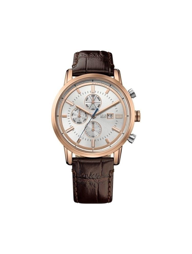Ρολόι ανδρικό Tommy Hilfiger Harrison Multifunction Rose Gold Brown Leather Strap 1791246