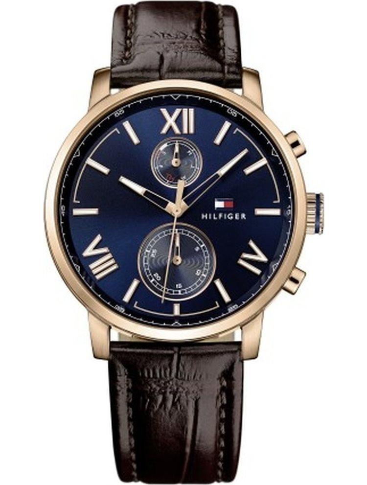 Ρολόι ανδρικό Tommy Hilfiger Alden Multifunction Rose Gold Brown Leather Strap 1791308