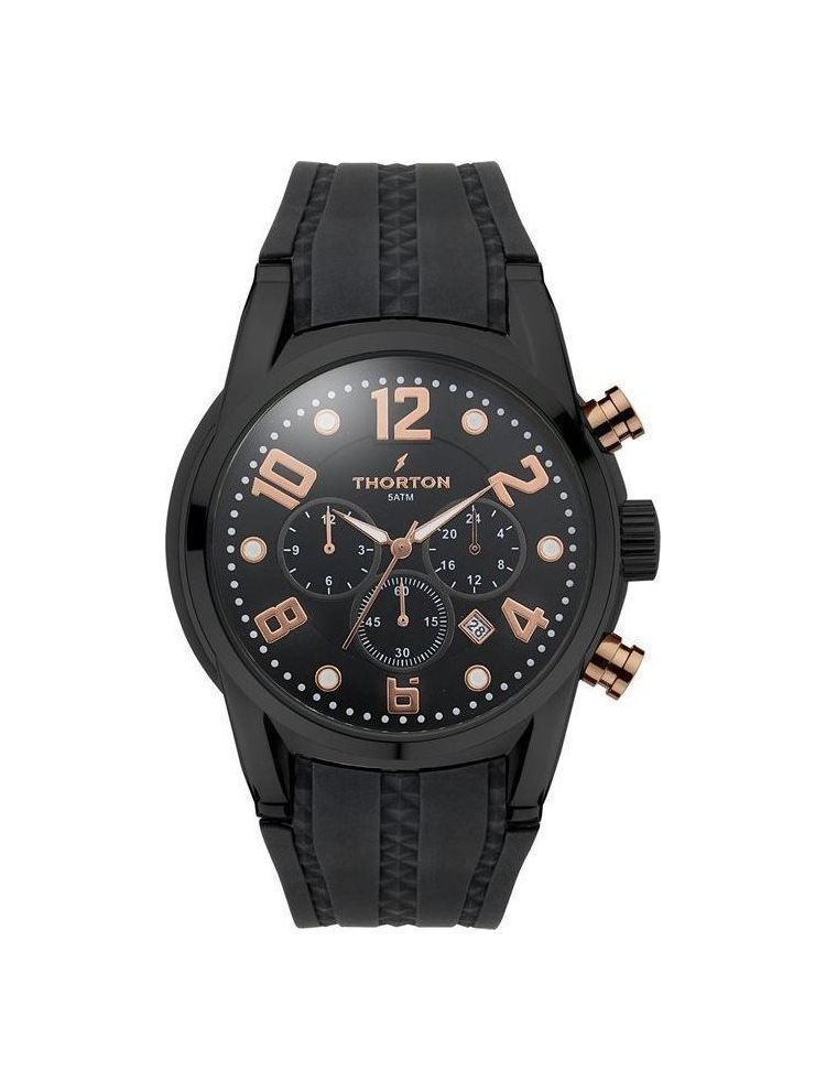Ρολόι Ανδρικό THORTON Harald Dual Time Black Rubber Strap 9005311