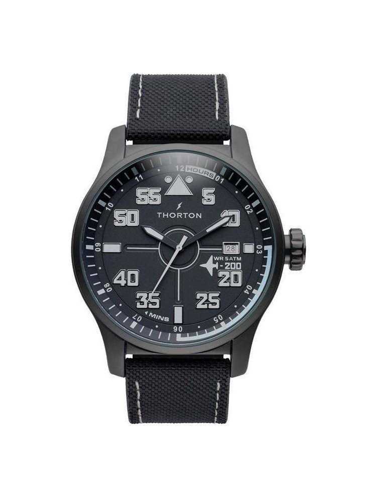 Ρολόι Ανδρικό THORTON Rolf Black Leather Strap 9006211