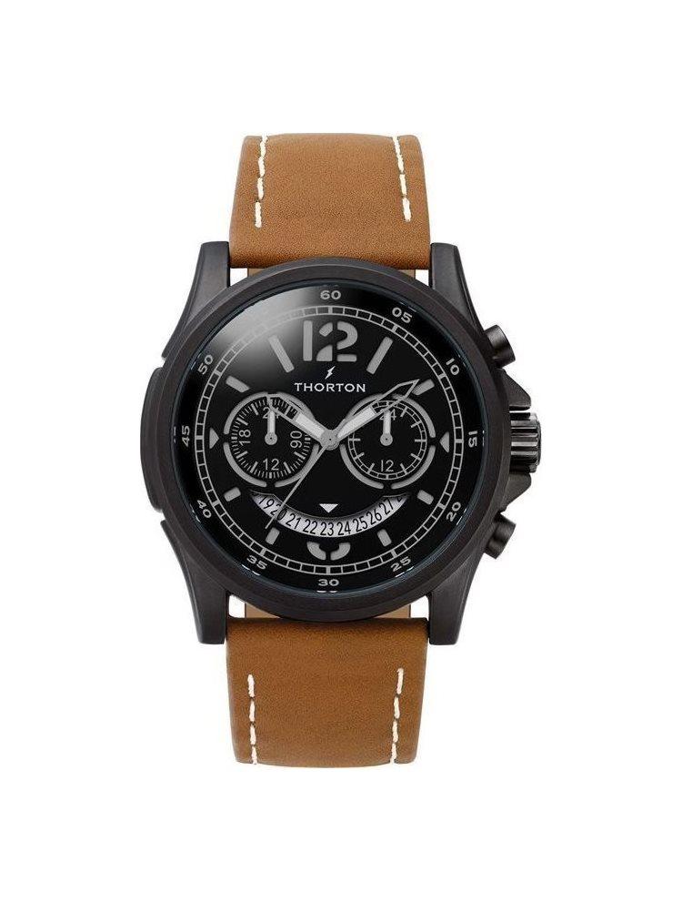 Ρολόι Ανδρικό THORTON Ivar Dual Time Brown Leather Strap 9007112