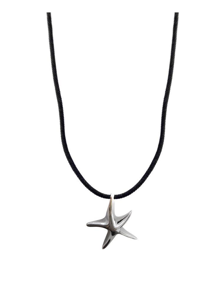 Ανδρικό κολιέ αστερίας ασημένιος με αυξομειώμενο κορδόνι