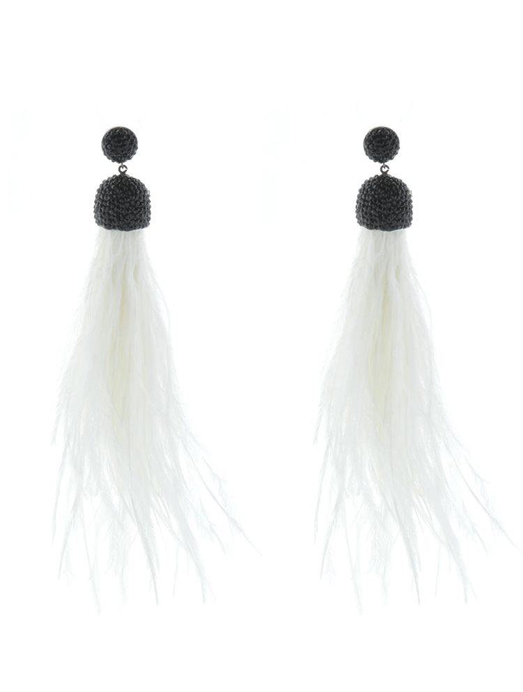 Σκουλαρίκια από ασήμι 925 μέταλλο λευκές φούντες και μαύρες πέτρες ζιργκόν