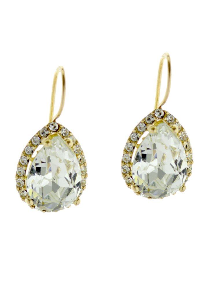 Εντυπωσιακά σκουλαρίκια Swarovski από επιχρυσωμένο ασήμι με πέτρες Swarovski