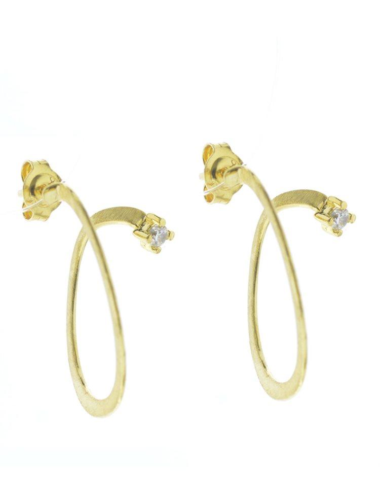 Χειροποίητα σκουλαρίκια από επιχρυσωμένο ασήμι και πέτρα ζιργκόν