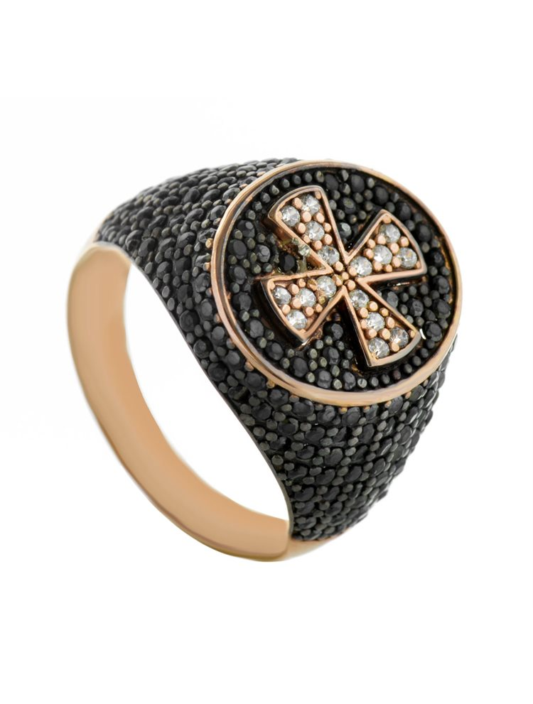 Δαχτυλίδι σεβαλιέ από ρόζ επιχρυσωμένο ασήμι με σταυρό και πέτρες ζιργκόν
