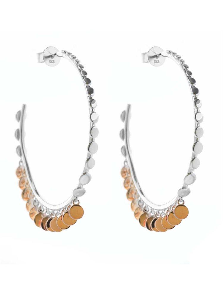 Σκουλαρίκια κρίκοι από ασήμι με κρεμαστά στοιχεία σε ρόζ επιχρυσωμένο ασήμι