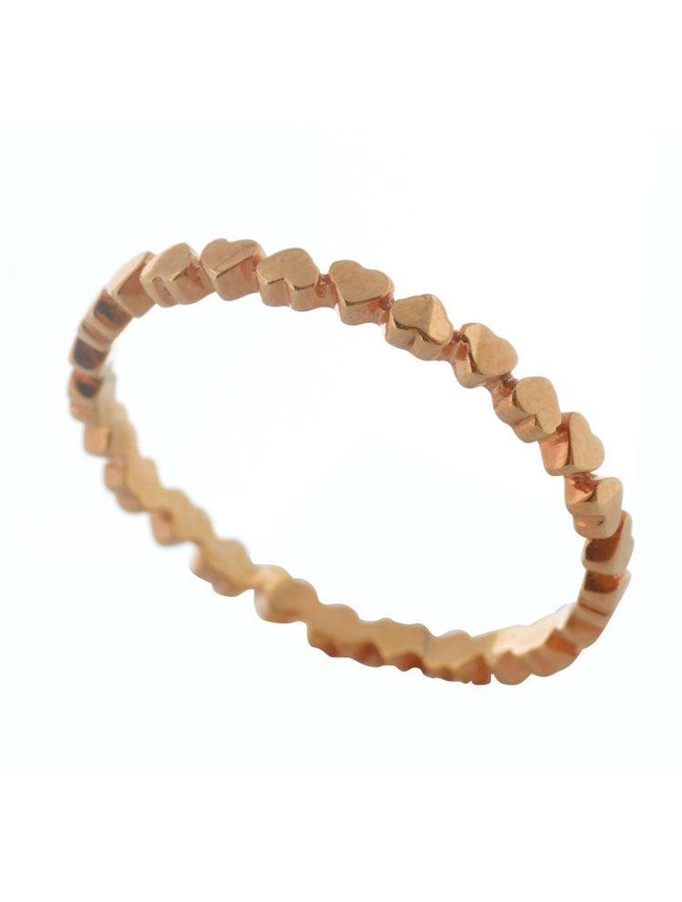 Δαχτυλίδι βεράκι με καρδούλες από ρόζ επιχρυσωμένο ασήμι