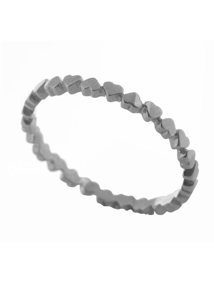 Δαχτυλίδι βεράκι με καρδούλες από ασήμι