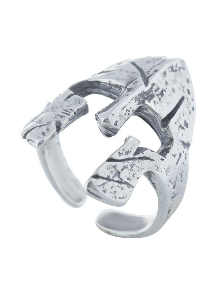 Ανδρικό δαχτυλίδι από ασήμι με αρχαιοελληνική περικεφαλαία