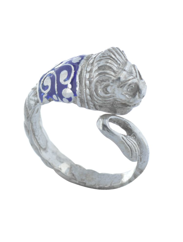 Ανδρικό δαχτυλίδι λέων σεβαλιέ από ασήμι με μπλέ σμάλτο