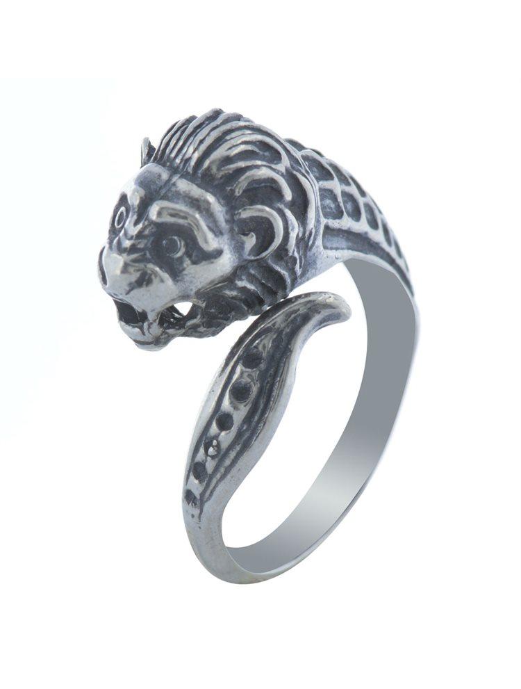 Ανδρικό δαχτυλίδι λέων από ασήμι