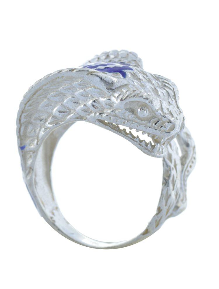 Ανδρικό δαχτυλίδι με κόμπρα από ασήμι και μπλέ σμάλτο
