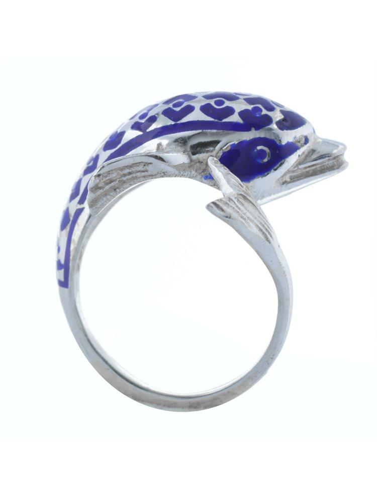 Ανδρικό δαχτυλίδι με δελφίνι από ασήμι και μπλέ σμάλτο