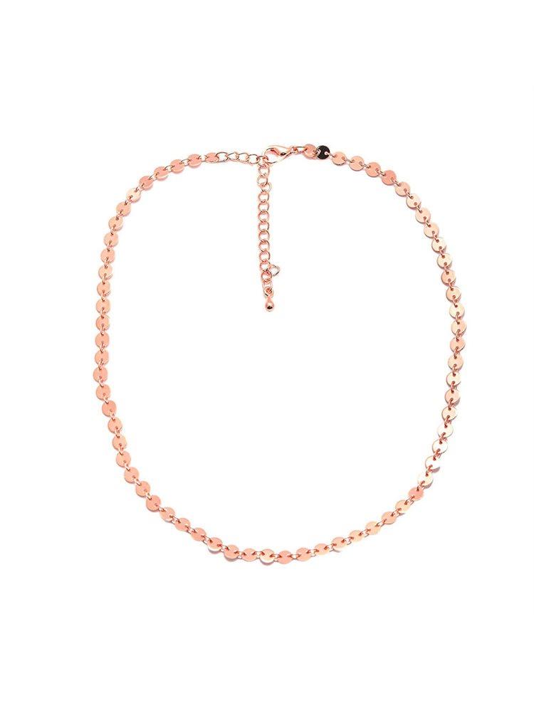 Βραχιόλι αλυσίδα ποδιού από ρόζ επιχρυσωμένο ασήμι