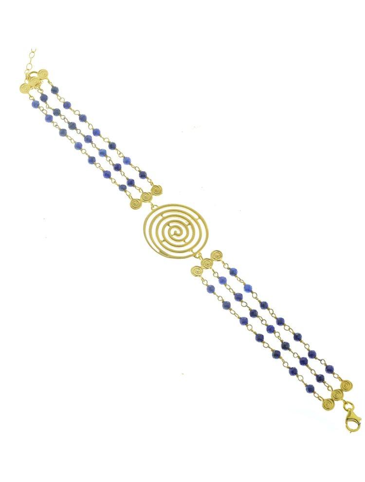Εντυπωσιακό βραχιόλι από πέτρα lapis lazuli και επιχρυσωμένα στοιχεία σπείρες