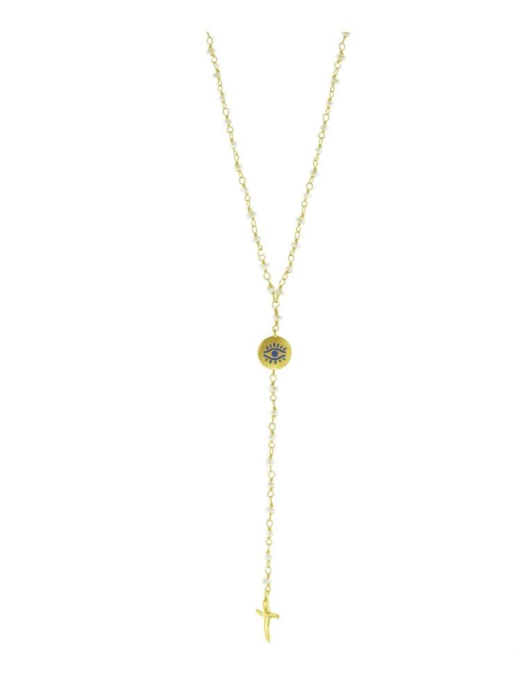 Κολιέ μακρύ ροζάριο με μαργαριτάρια και στοιχεία επιχρυσωμένα ασημιού μάτι και σταυρό