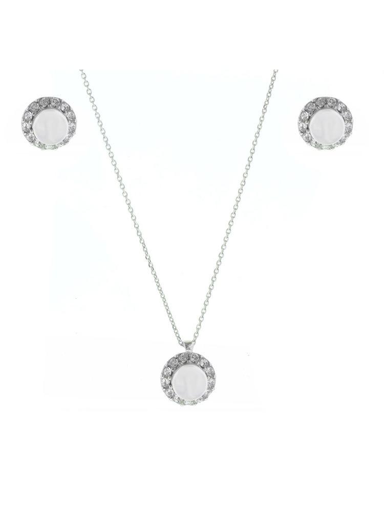 Σέτ κολιέ με σκουλαρίκια από ασήμι με πέτρες swarovski και μαργαριτάρι