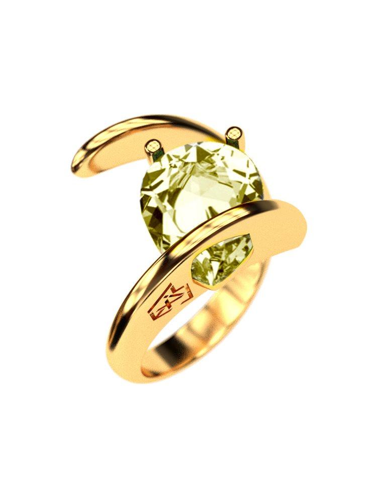 Δαχτυλίδι από επιχρυσωμένο ασήμι με πέτρα Swarovski και σαμπανί πέτρα
