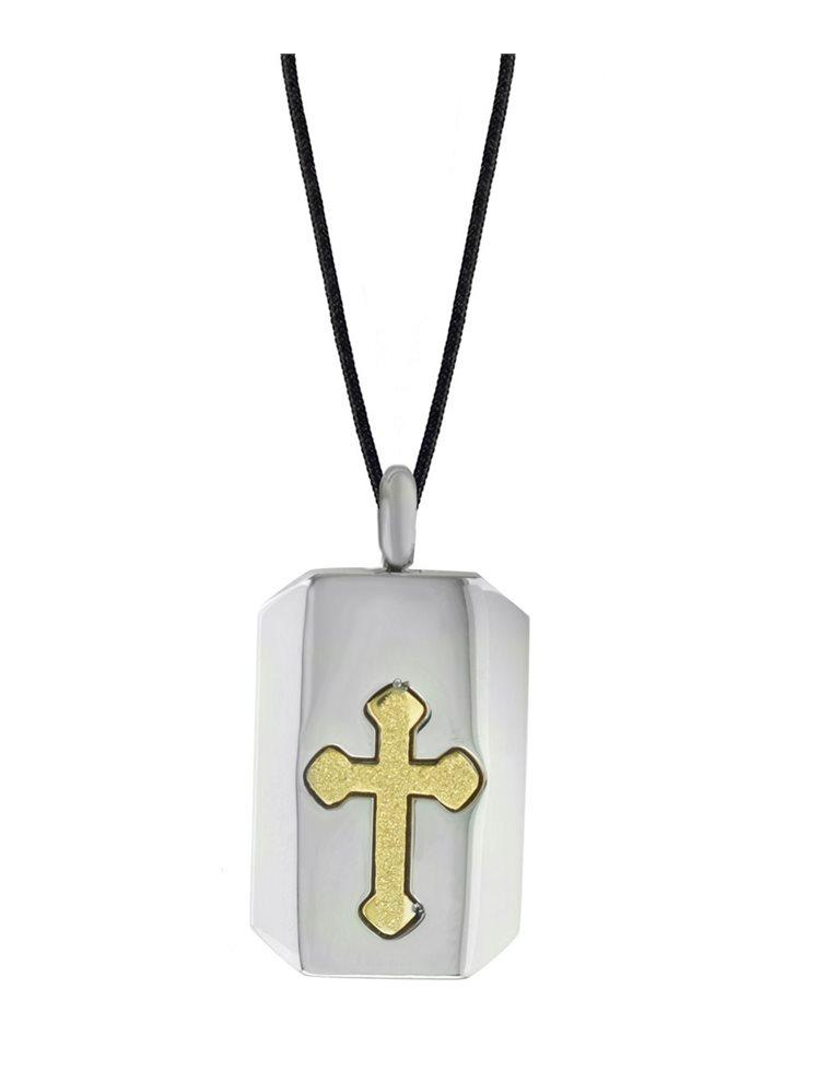 Κολιέ ανδρικό με κορδόνι και σταυρό από ανοξείδωτο ατσάλι