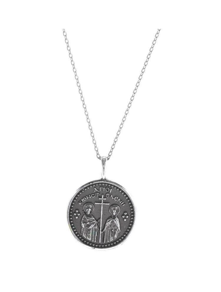 Χειροποίητο κολιέ φλουρί διπλής όψης κωνσταντινάτο και την Αγία Σκέπη σε αντικέ ασήμι