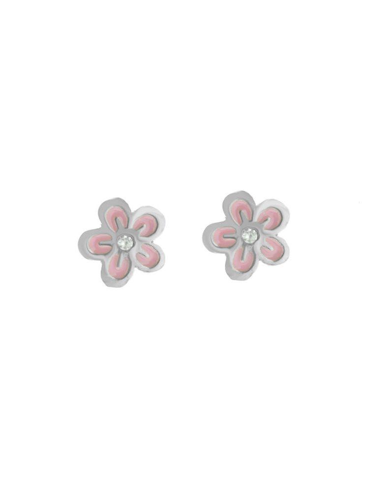 Σκουλαρίκια παιδικά καρφωτά λουλούδια από ασήμι