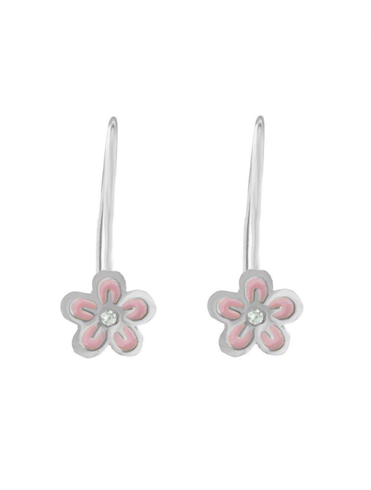 Σκουλαρίκια παιδικά κρεμαστά λουλούδια από ασήμι