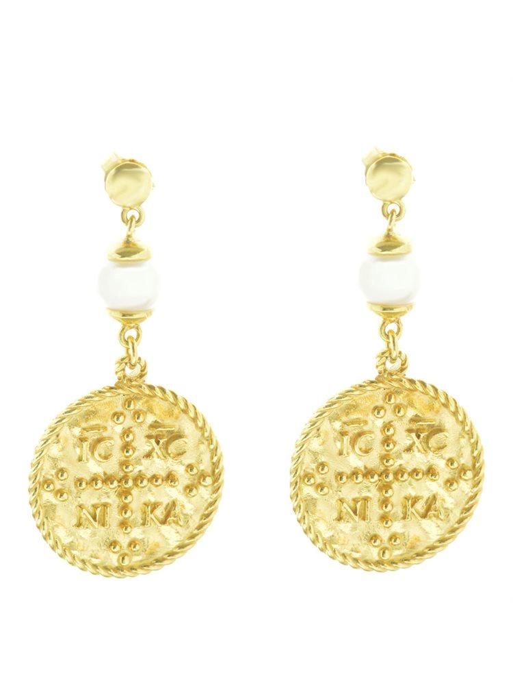 Μοντέρνα σκουλαρίκια φλουριά διπλής όψης κωνσταντινάτο και εντούτο νίκα από επιχρυσωμένο ασήμι