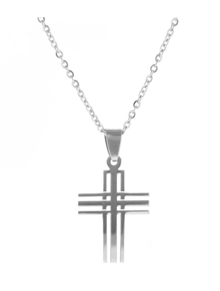 Ανδρικό κολιέ από ανοξείδωτο ατσάλι με σταυρό