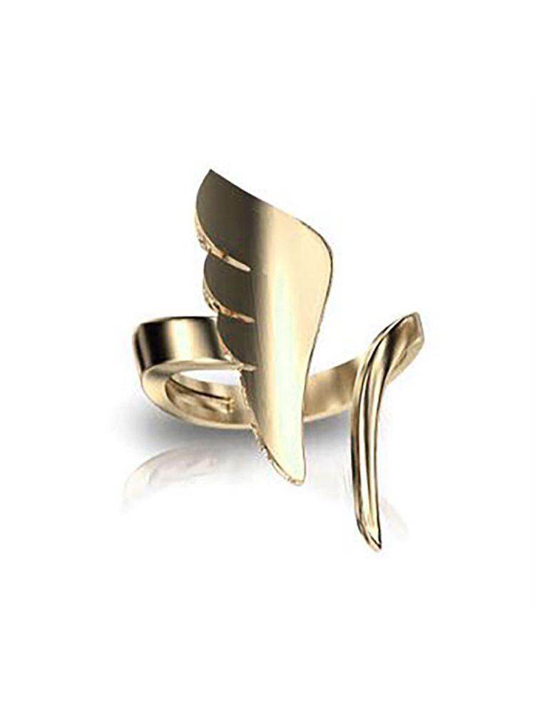 Δαχτυλίδι φτερό από επιχρυσωμένο ασήμι